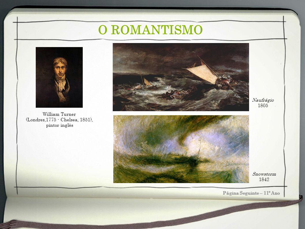 O ROMANTISMO Página Seguinte – 11º Ano Snowstorm 1842 Naufrágio 1805 William Turner (Londres,1775 - Chelsea, 1851), pintor inglês