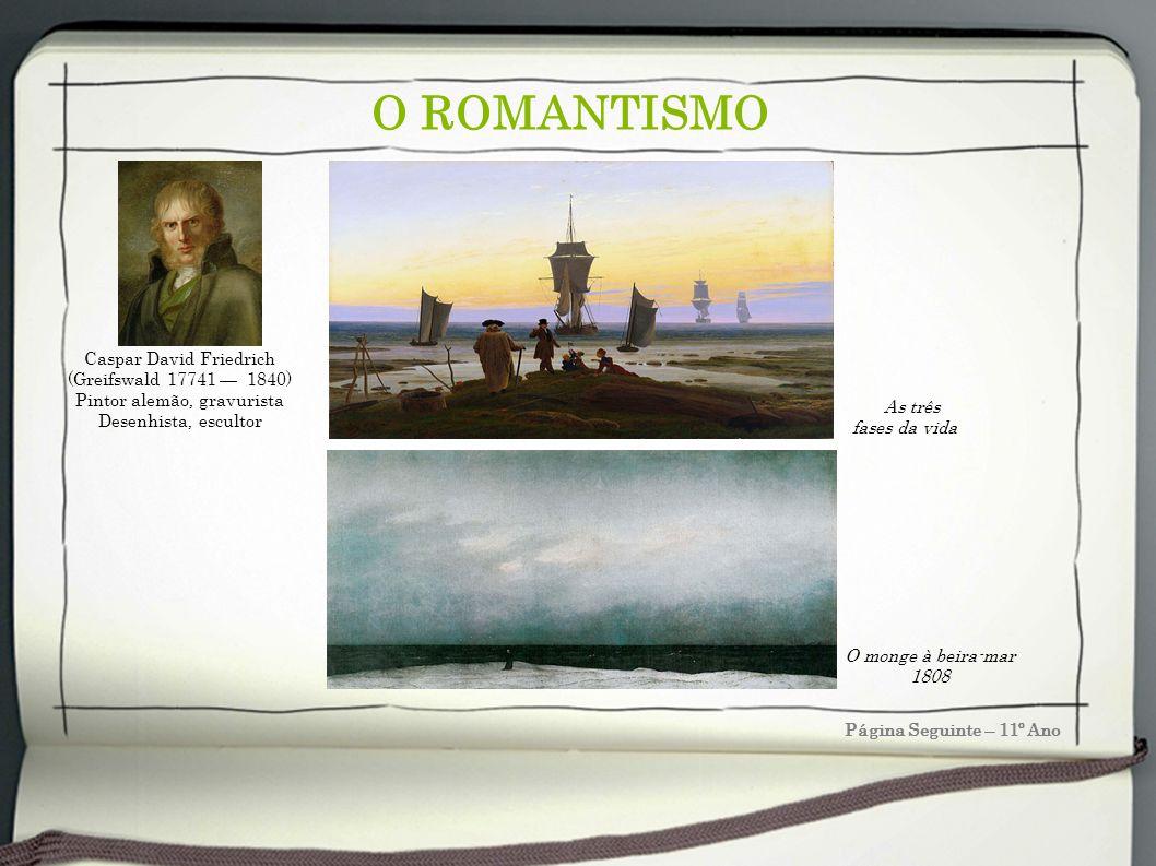 O ROMANTISMO Página Seguinte – 11º Ano Caspar David Friedrich (Greifswald 17741 1840) Pintor alemão, gravurista Desenhista, escultor O monge à beira-m