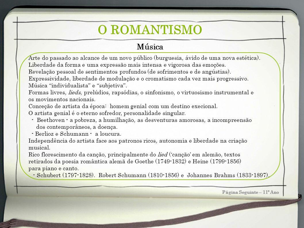 O ROMANTISMO Página Seguinte – 11º Ano Música Arte do passado ao alcance de um novo público (burguesia, ávido de uma nova estética). Liberdade da form