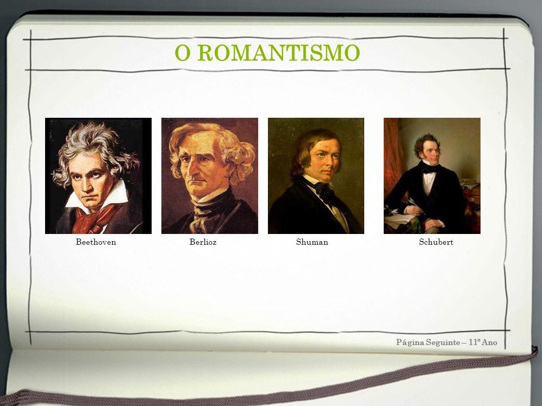 O ROMANTISMO Página Seguinte – 11º Ano Beethoven Berlioz Shuman Schubert