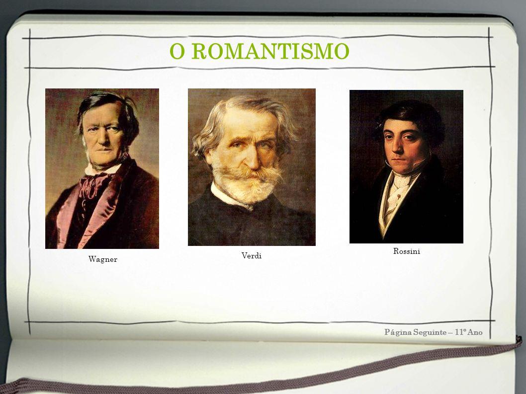 O ROMANTISMO Página Seguinte – 11º Ano Wagner Verdi Rossini