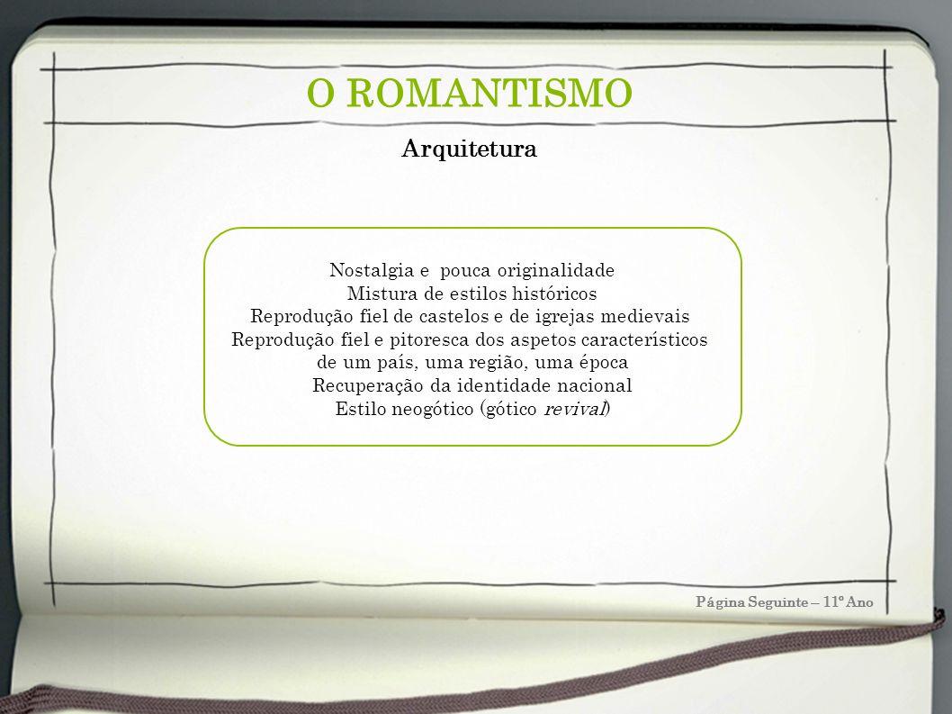 O ROMANTISMO Página Seguinte – 11º Ano Arquitetura Nostalgia e pouca originalidade Mistura de estilos históricos Reprodução fiel de castelos e de igre