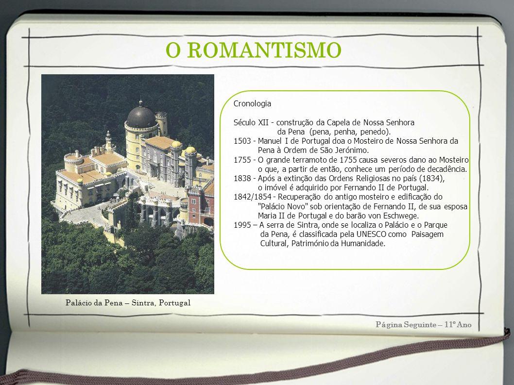 O ROMANTISMO Página Seguinte – 11º Ano Cronologia Século XII - construção da Capela de Nossa Senhora da Pena (pena, penha, penedo). 1503 - Manuel I de