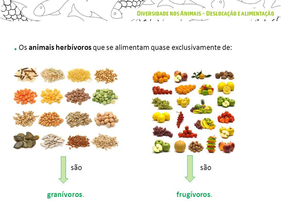 . Os animais herbívoros que se alimentam quase exclusivamente de: granívoros.frugívoros. são