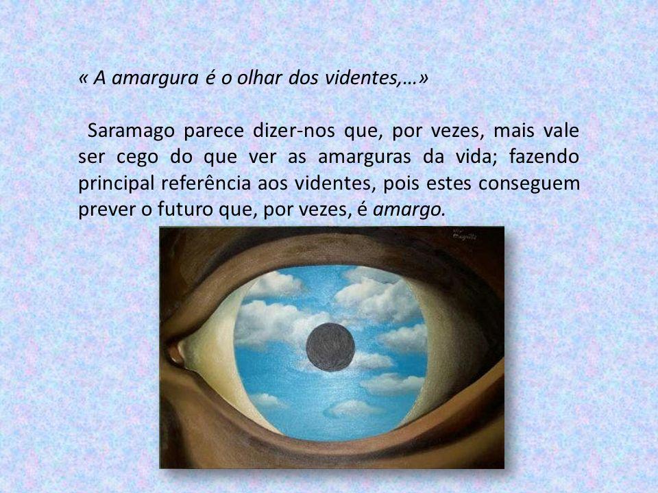 « A amargura é o olhar dos videntes,…» Saramago parece dizer-nos que, por vezes, mais vale ser cego do que ver as amarguras da vida; fazendo principal referência aos videntes, pois estes conseguem prever o futuro que, por vezes, é amargo.