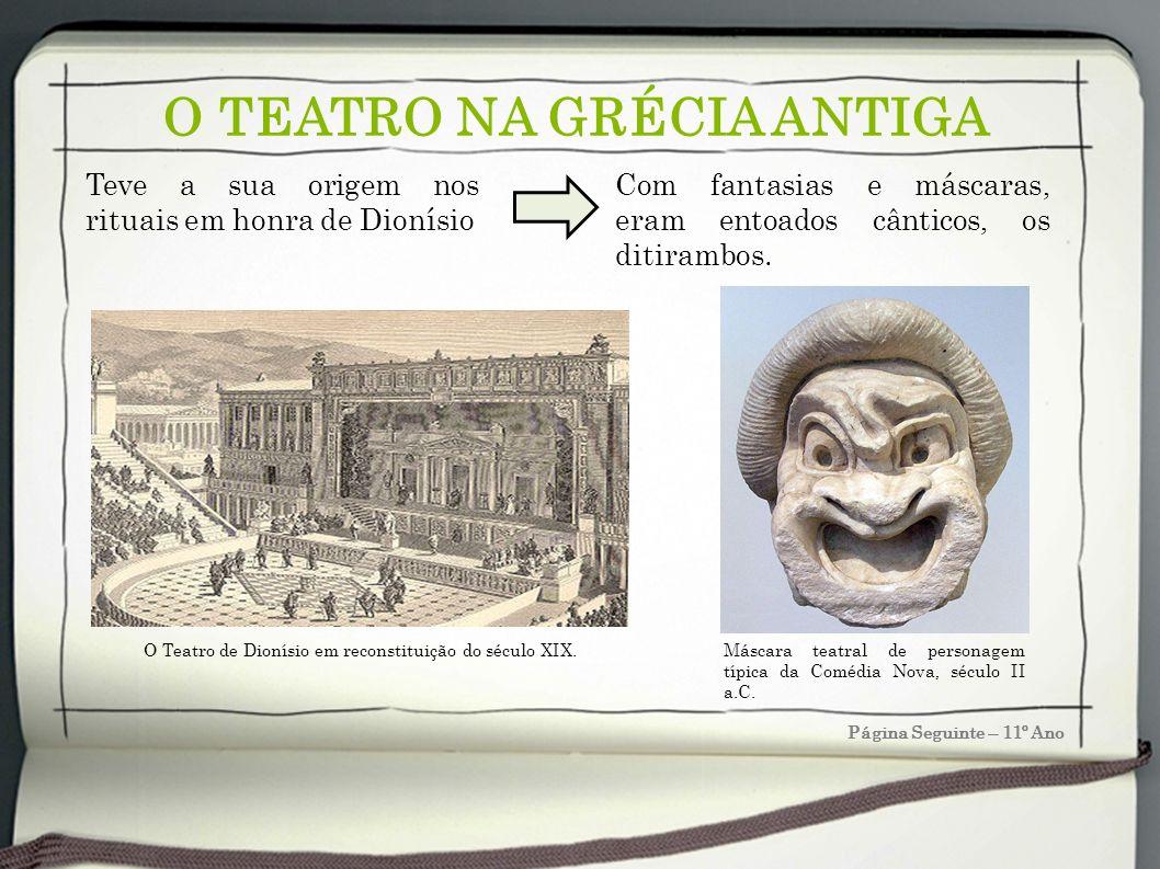 O TEATRO NA GRÉCIA ANTIGA Página Seguinte – 11º Ano Teve a sua origem nos rituais em honra de Dionísio Com fantasias e máscaras, eram entoados cântico