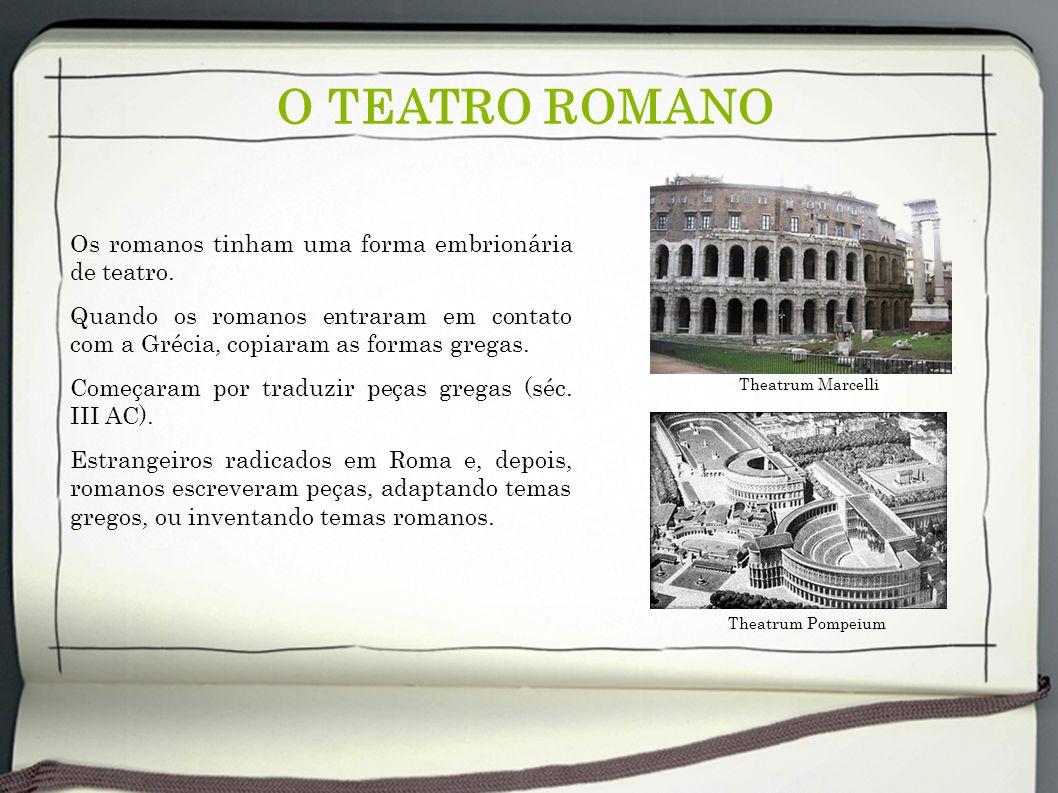O TEATRO ROMANO Os romanos tinham uma forma embrionária de teatro. Quando os romanos entraram em contato com a Grécia, copiaram as formas gregas. Come