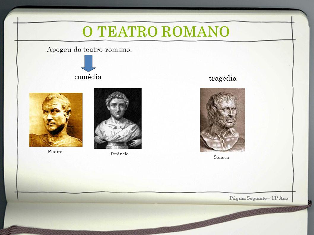O TEATRO ROMANO Página Seguinte – 11º Ano Apogeu do teatro romano. tragédia Séneca Plauto Terêncio comédia