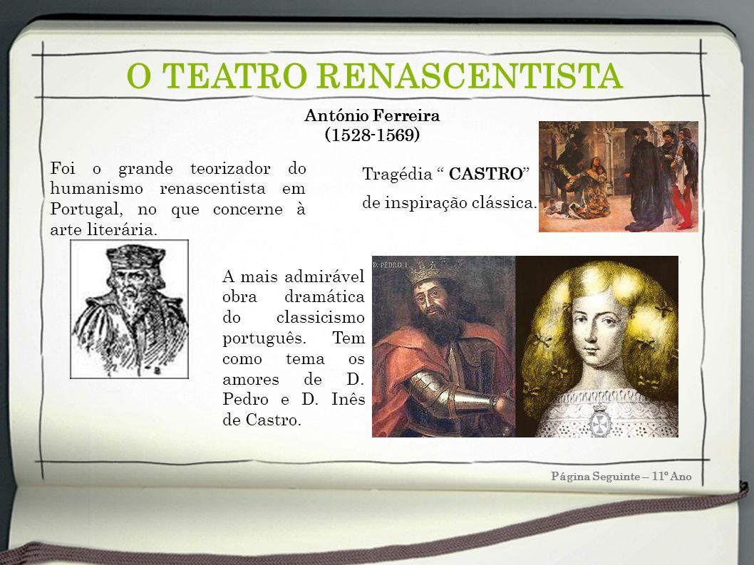 O TEATRO RENASCENTISTA Página Seguinte – 11º Ano António Ferreira (1528-1569) Tragédia CASTRO de inspiração clássica. Foi o grande teorizador do human