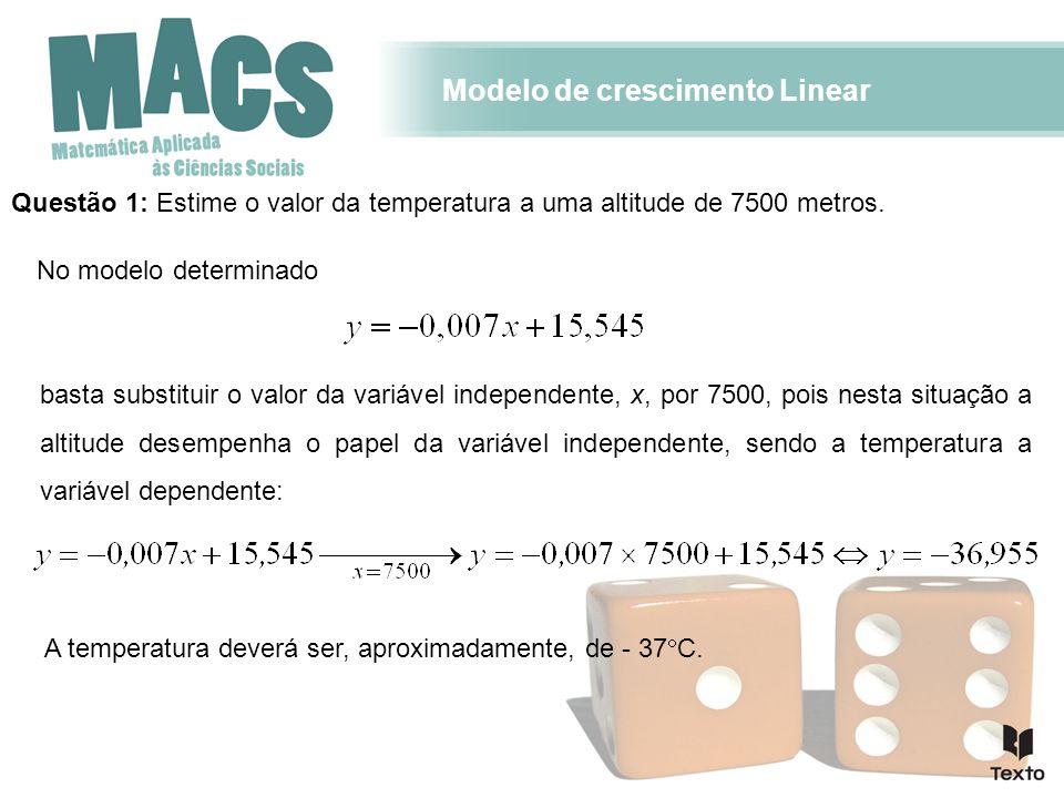 Modelo de crescimento Linear Questão 2: Estime o valor da altitude com uma temperatura de -20 C.