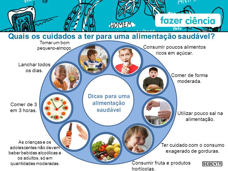 Quais os cuidados a ter para uma alimentação saudável? Tomar um bom pequeno-almoço. Lanchar todos os dias. Comer de 3 em 3 horas. Consumir fruta e pro