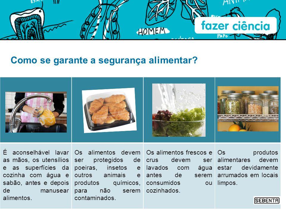 Os produtos alimentares devem estar devidamente arrumados em locais limpos. Os alimentos frescos e crus devem ser lavados com água antes de serem cons