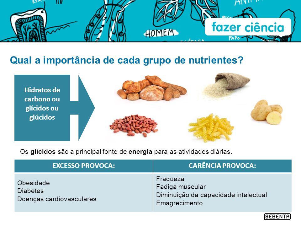 Qual a importância de cada grupo de nutrientes? Os glícidos são a principal fonte de energia para as atividades diárias. Hidratos de carbono ou glícid
