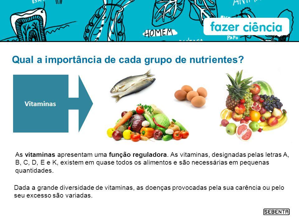 Qual a importância de cada grupo de nutrientes? As vitaminas apresentam uma função reguladora. As vitaminas, designadas pelas letras A, B, C, D, E e K