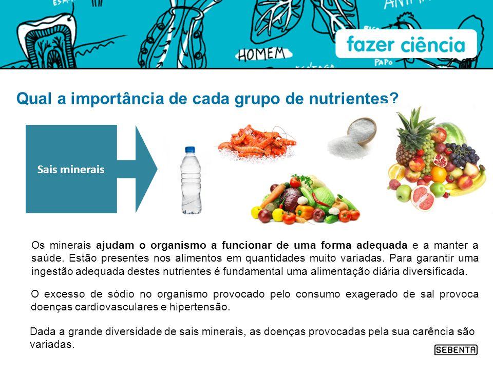 Qual a importância de cada grupo de nutrientes? Os minerais ajudam o organismo a funcionar de uma forma adequada e a manter a saúde. Estão presentes n
