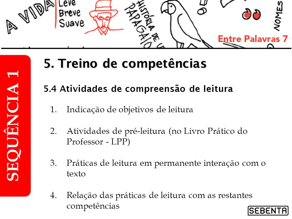1.Indicação de objetivos de leitura 2.Atividades de pré-leitura (no Livro Prático do Professor - LPP) 3.Práticas de leitura em permanente interação co