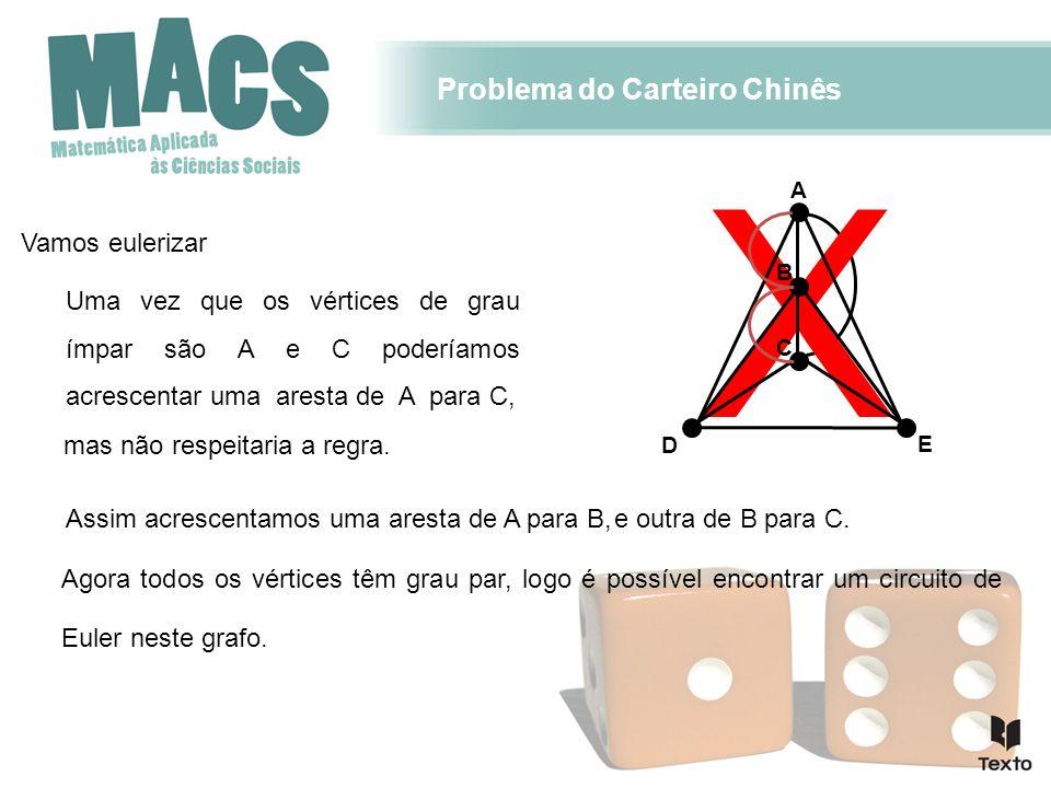 X Problema do Carteiro Chinês Uma vez que os vértices de grau ímpar são A e C poderíamos acrescentar uma aresta de A para C, Assim acrescentamos uma a