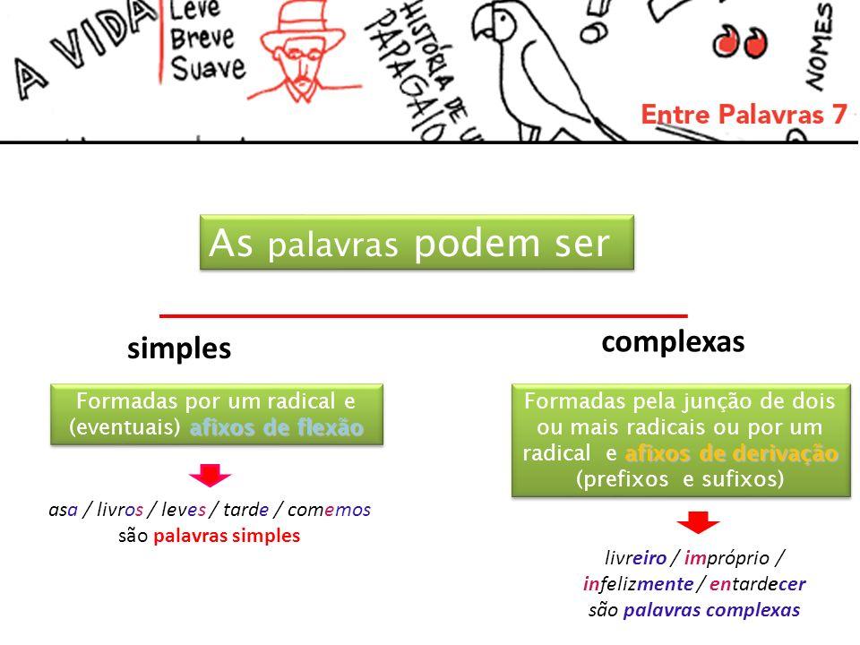 Palavras simples e seus constituintes: Casas = (N) Leves = (Adj) Cedo = (Adv) Compramos = (Verbo) cas + + + + + a s radicalÍndice temático Sufixo de flexão as Casas + + Lev o Cedo e radicalÍndice temático s Sufixo de flexão es Leves Cedo Índice temáticoradical Compramos radicalVogal temática (T)Afixos de flexão (PN)