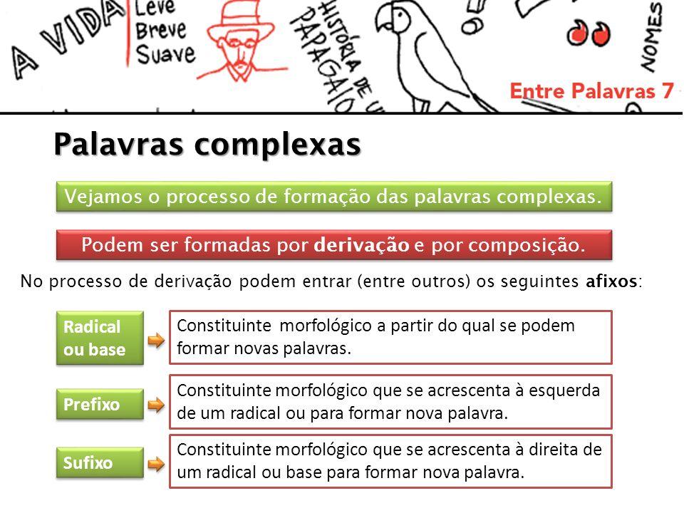 Palavras complexas Vejamos o processo de formação das palavras complexas. Radical ou base Radical ou base Prefixo Podem ser formadas por derivação e p