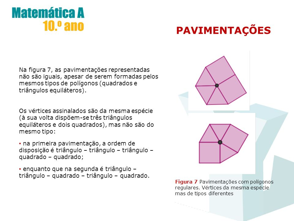 PAVIMENTAÇÕES Figura 7 Pavimentações com polígonos regulares. Vértices da mesma espécie mas de tipos diferentes Na figura 7, as pavimentações represen