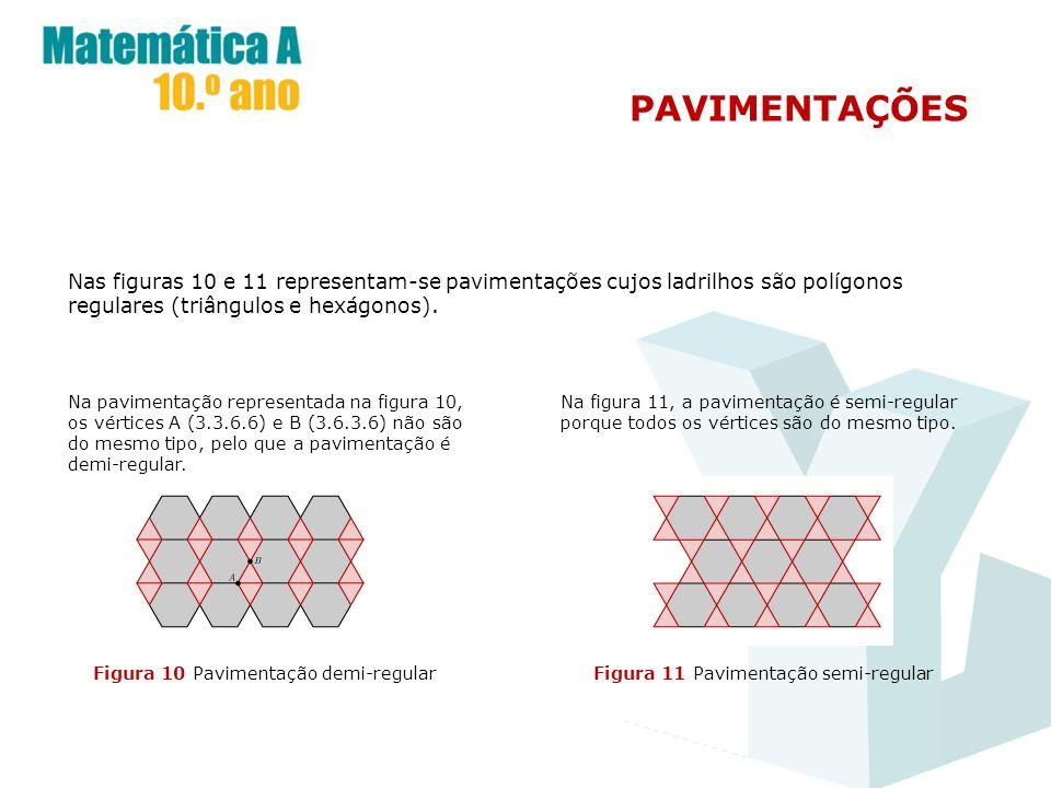 PAVIMENTAÇÕES Nas figuras 10 e 11 representam-se pavimentações cujos ladrilhos são polígonos regulares (triângulos e hexágonos). Figura 10 Pavimentaçã