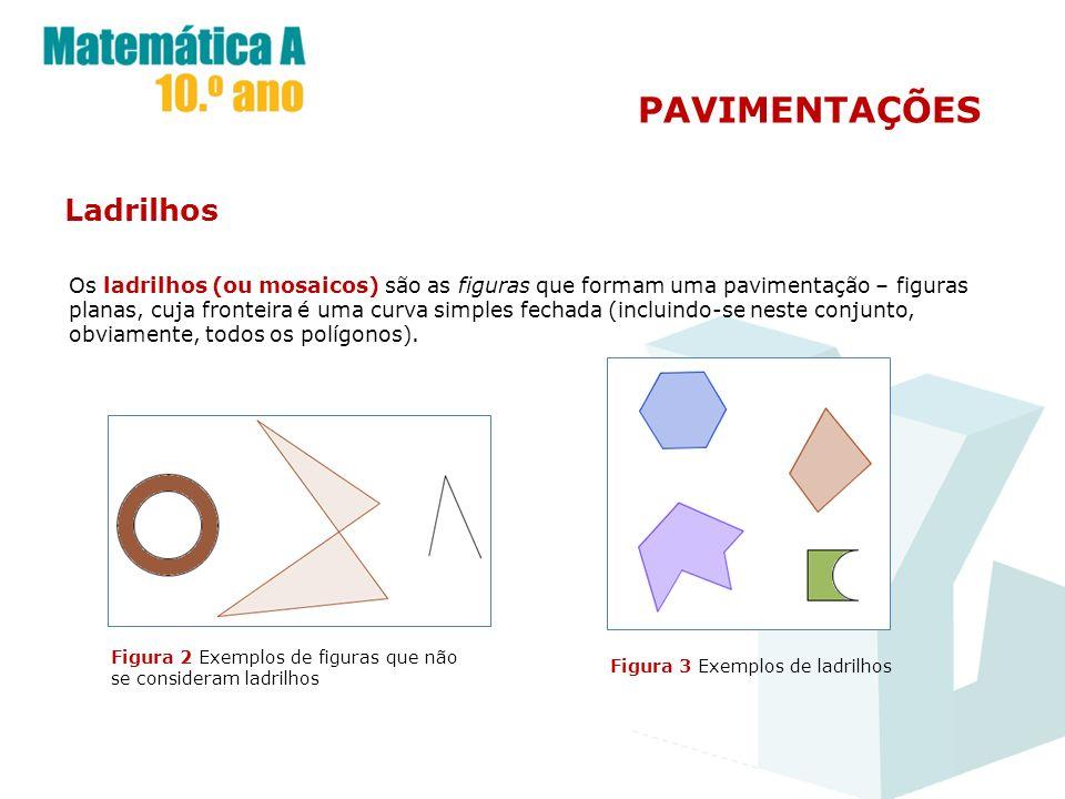 Ladrilhos Os ladrilhos (ou mosaicos) são as figuras que formam uma pavimentação – figuras planas, cuja fronteira é uma curva simples fechada (incluind