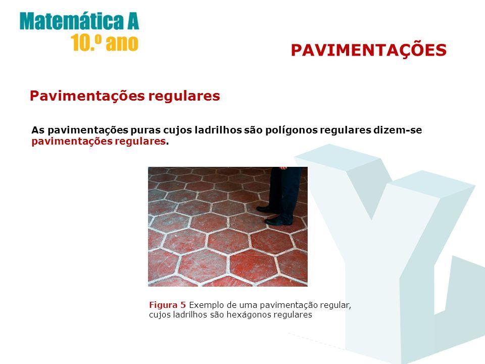 PAVIMENTAÇÕES Pavimentações regulares As pavimentações puras cujos ladrilhos são polígonos regulares dizem-se pavimentações regulares. Figura 5 Exempl