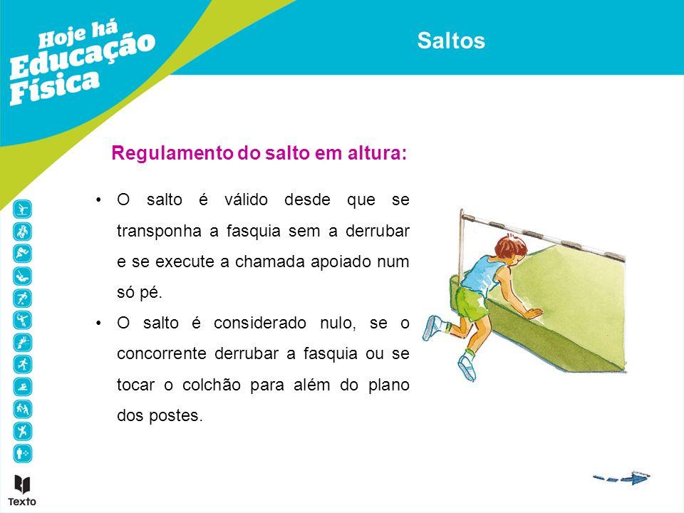 Regulamento do salto em altura: O salto é válido desde que se transponha a fasquia sem a derrubar e se execute a chamada apoiado num só pé. O salto é