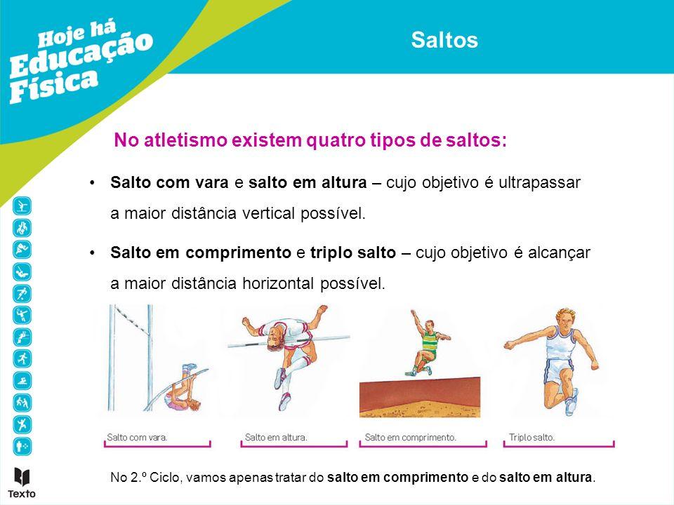 No atletismo existem quatro tipos de saltos: Salto com vara e salto em altura – cujo objetivo é ultrapassar a maior distância vertical possível. Salto