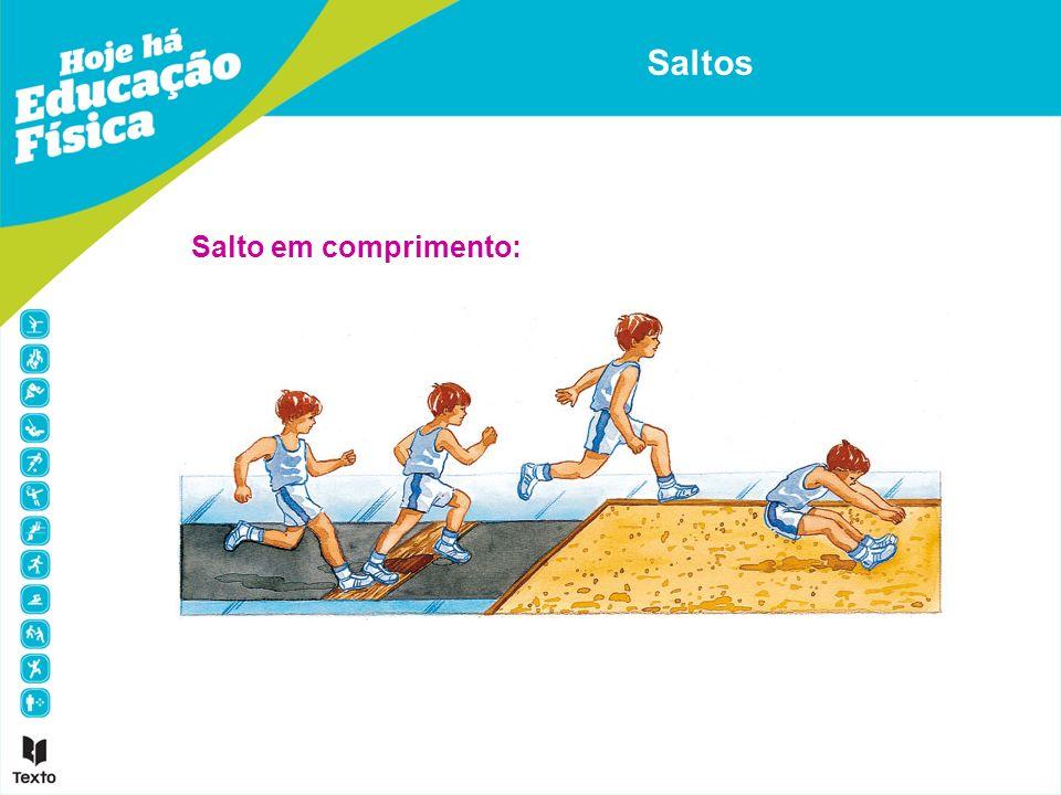 1.Corrida de balanço - aumentar progressivamente a velocidade e apoiar o pé de impulsão na tábua de chamada.