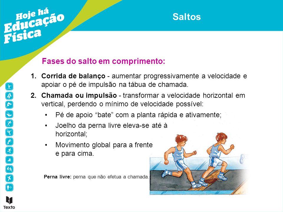 1.Corrida de balanço - aumentar progressivamente a velocidade e apoiar o pé de impulsão na tábua de chamada. 2.Chamada ou impulsão - transformar a vel