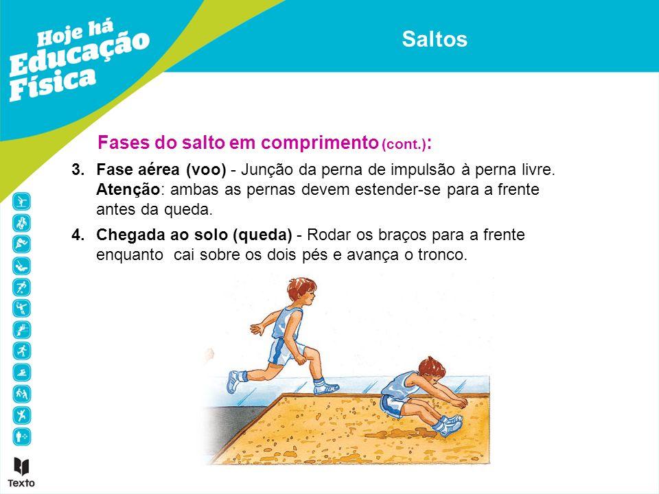 3.Fase aérea (voo) - Junção da perna de impulsão à perna livre. Atenção: ambas as pernas devem estender-se para a frente antes da queda. 4.Chegada ao