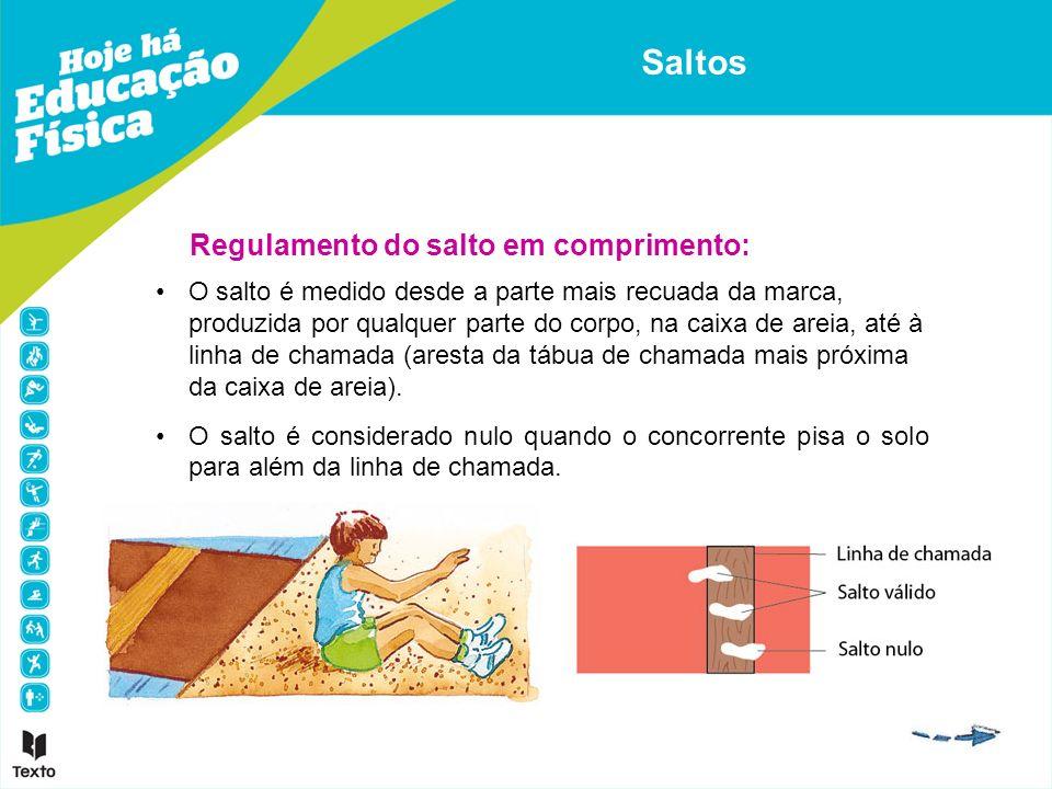 Regulamento do salto em comprimento: O salto é medido desde a parte mais recuada da marca, produzida por qualquer parte do corpo, na caixa de areia, a