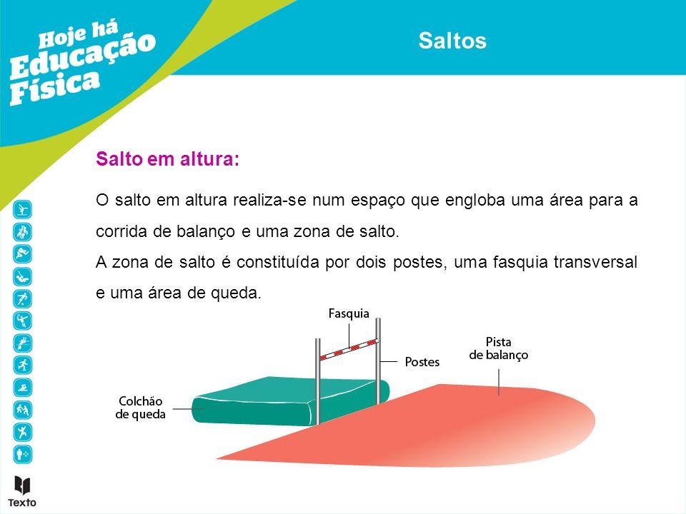 O salto em altura realiza-se num espaço que engloba uma área para a corrida de balanço e uma zona de salto. A zona de salto é constituída por dois pos