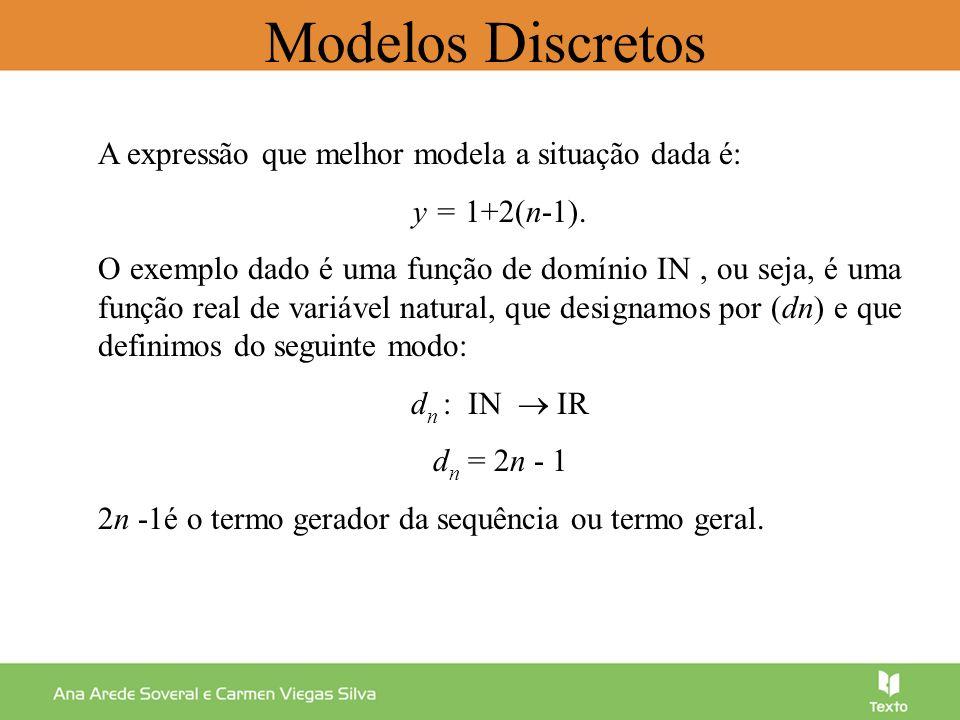 Uma sucessão (d n ) é limitada se e só se for majorada e minorada, ou seja: m, M IR, n IN : m < d n < M Modelos Discretos 3 2 1 2468