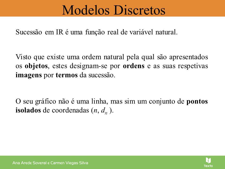 Modelos Discretos Considere a sucessão de termo geral Calcule os quatro primeiros termos: