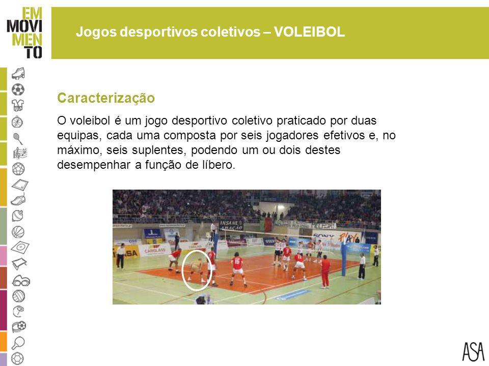 Jogos desportivos coletivos – VOLEIBOL O voleibol é um jogo desportivo coletivo praticado por duas equipas, cada uma composta por seis jogadores efetivos e, no máximo, seis suplentes, podendo um ou dois destes desempenhar a função de líbero.