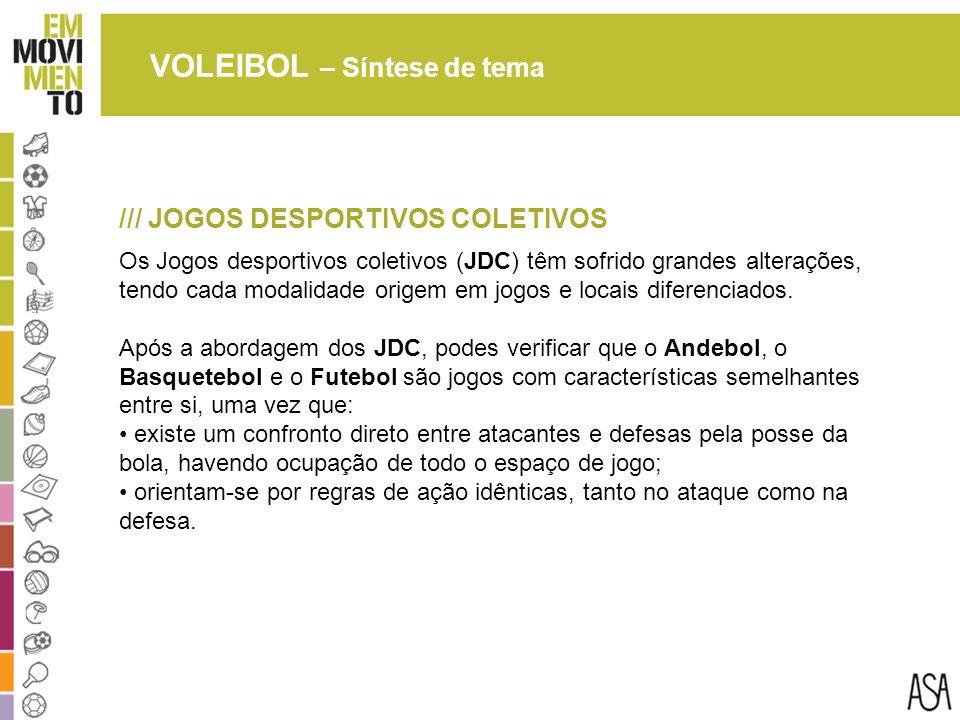 VOLEIBOL – Síntese de tema /// JOGOS DESPORTIVOS COLETIVOS Os Jogos desportivos coletivos (JDC) têm sofrido grandes alterações, tendo cada modalidade origem em jogos e locais diferenciados.