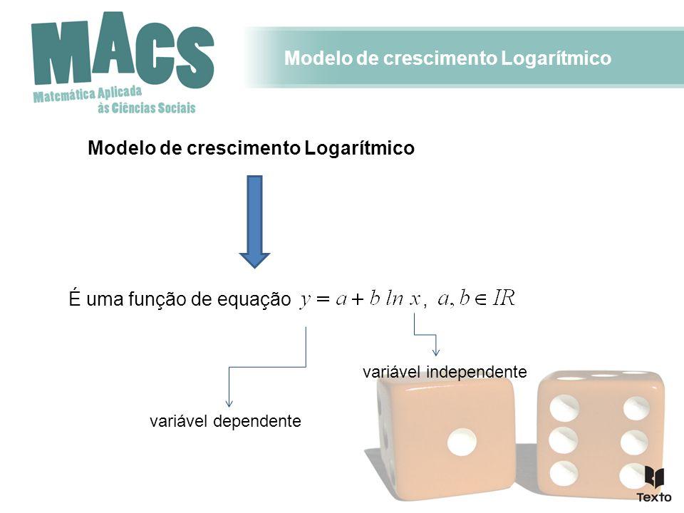 Modelo de crescimento Logarítmico É uma função de equação variável dependente variável independente,