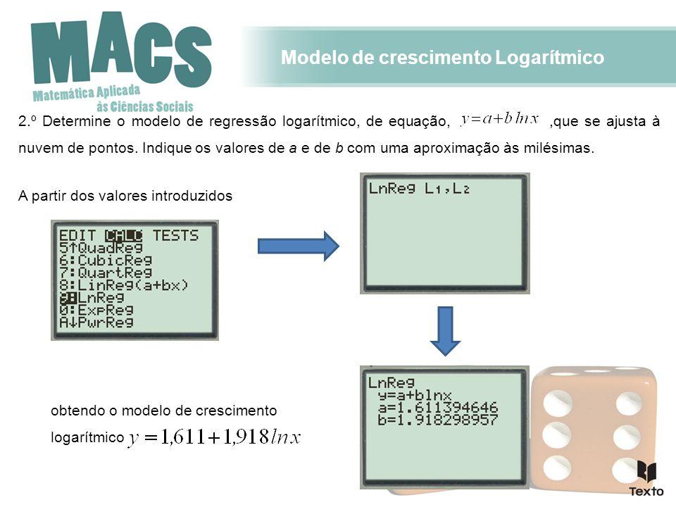 Modelo de crescimento Logarítmico 2.º Determine o modelo de regressão logarítmico, de equação,,que se ajusta à nuvem de pontos. Indique os valores de
