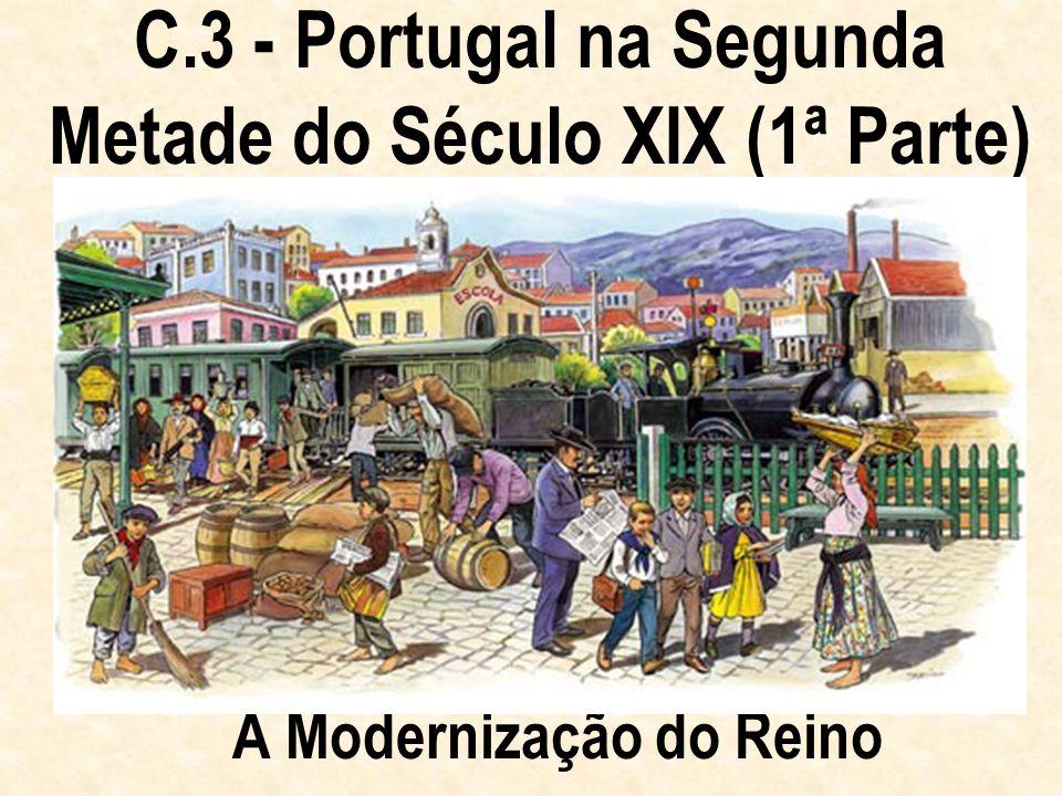 Ao longo do século XIX, Portugal viveu duas épocas muito diferentes: guerras, instabilidade política, atraso económico até meados do século; paz, estabilidade política e progresso económico na 2ª metade do século XIX.