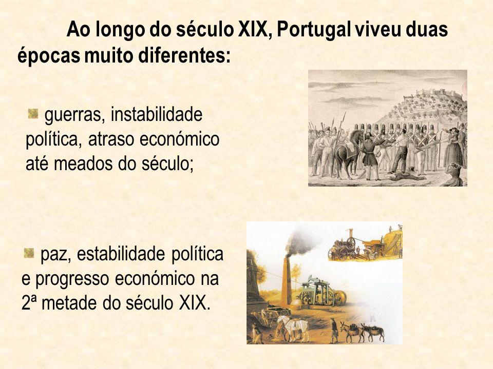 Ao longo do século XIX, Portugal viveu duas épocas muito diferentes: guerras, instabilidade política, atraso económico até meados do século; paz, esta