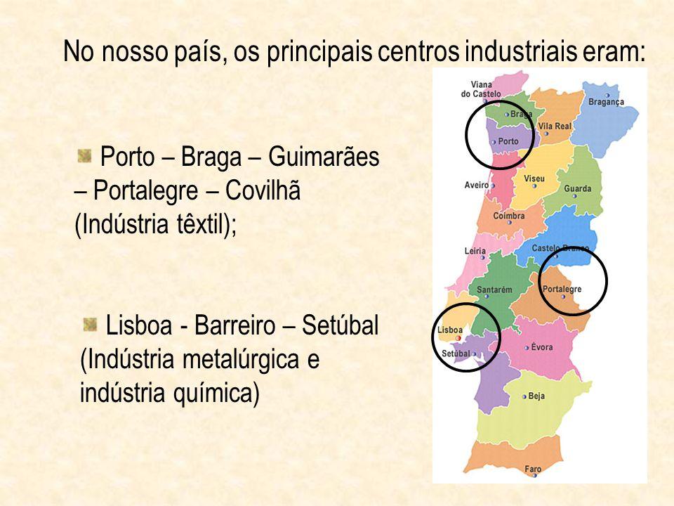 No nosso país, os principais centros industriais eram: Porto – Braga – Guimarães – Portalegre – Covilhã (Indústria têxtil); Lisboa - Barreiro – Setúba