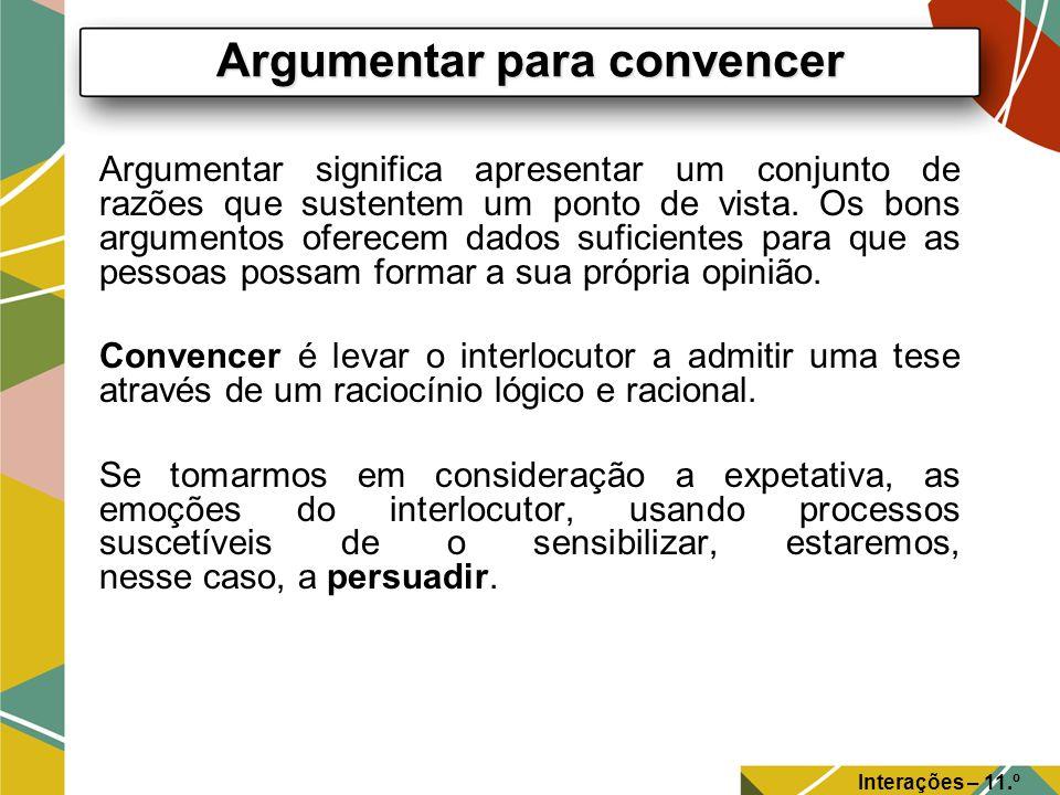 Argumentar significa apresentar um conjunto de razões que sustentem um ponto de vista. Os bons argumentos oferecem dados suficientes para que as pesso