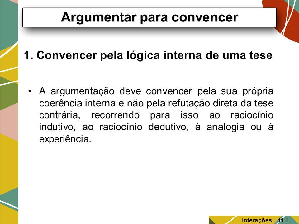 1. Convencer pela lógica interna de uma tese A argumentação deve convencer pela sua própria coerência interna e não pela refutação direta da tese cont