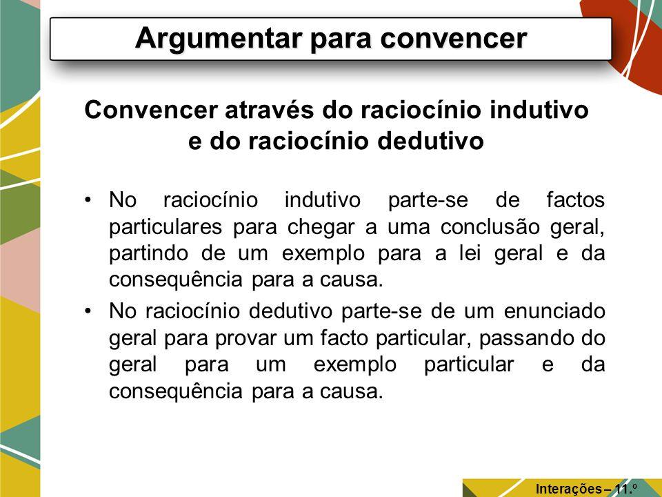 Convencer através do raciocínio indutivo e do raciocínio dedutivo No raciocínio indutivo parte-se de factos particulares para chegar a uma conclusão g