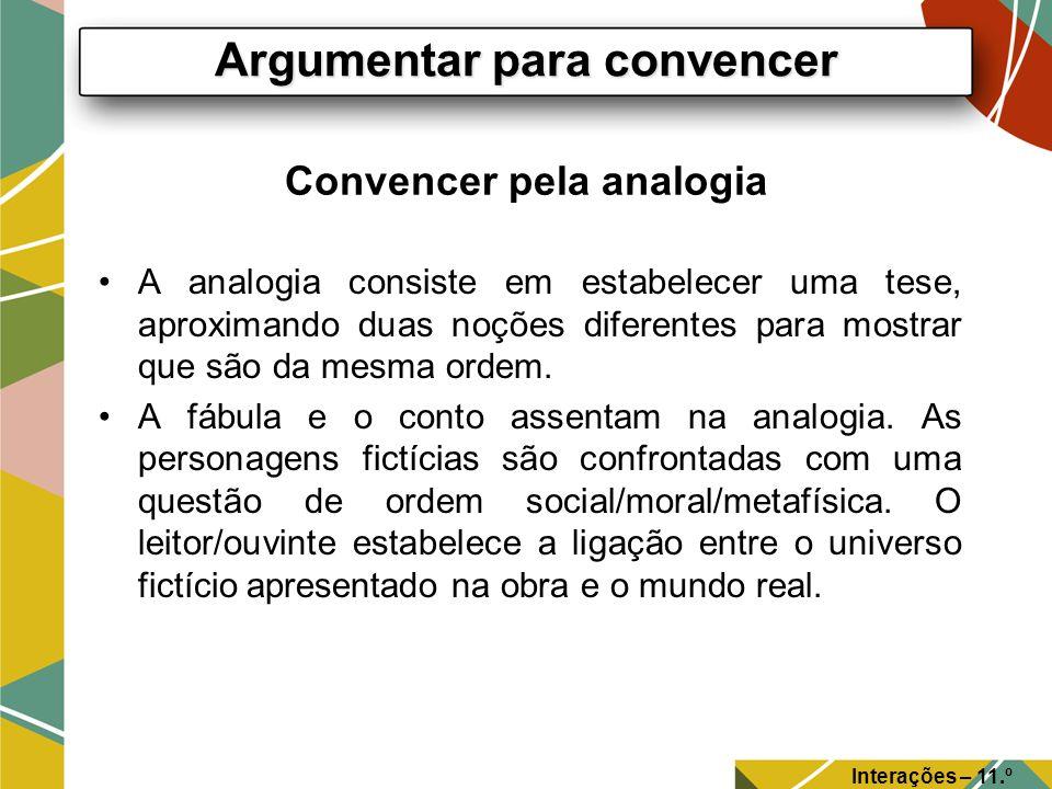 Convencer pela analogia A analogia consiste em estabelecer uma tese, aproximando duas noções diferentes para mostrar que são da mesma ordem. A fábula