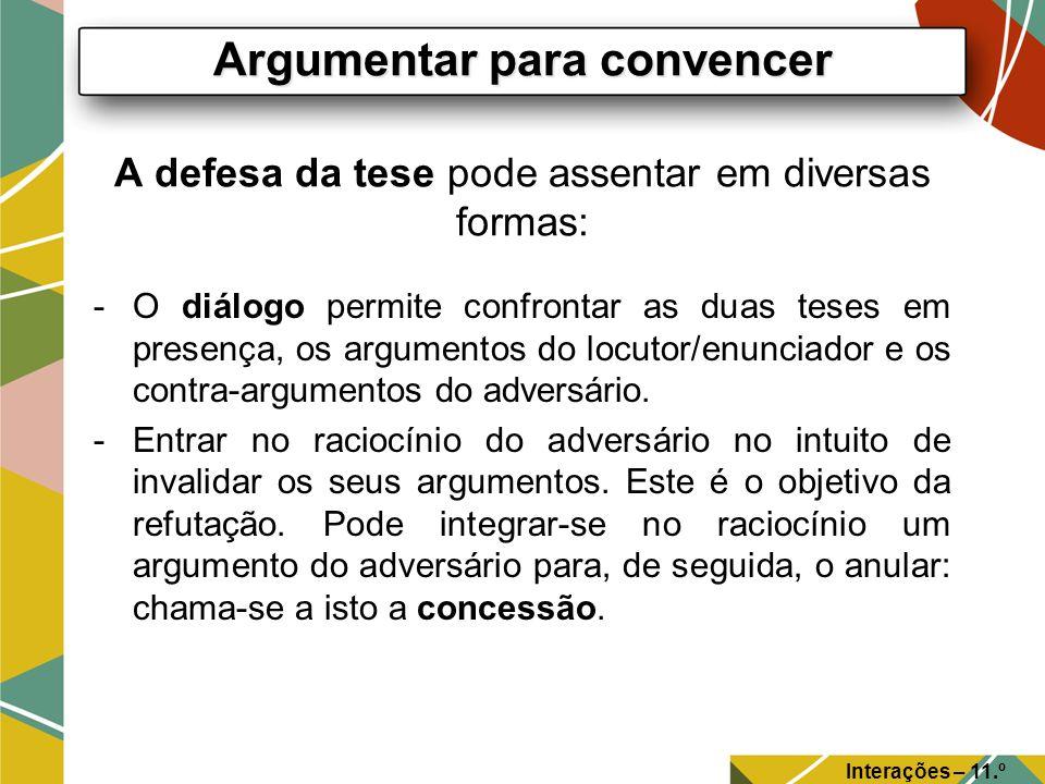 A defesa da tese pode assentar em diversas formas: -O diálogo permite confrontar as duas teses em presença, os argumentos do locutor/enunciador e os c