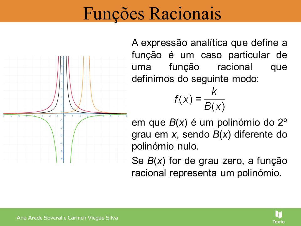 Temos que: O domínio é IR\{ h }.A reta x = h é uma assíntota vertical do gráfico da função.
