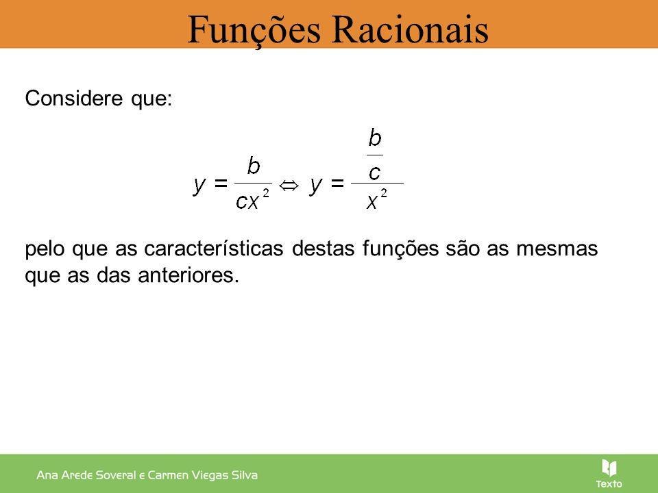 Considere que: pelo que as características destas funções são as mesmas que as das anteriores. Funções Racionais